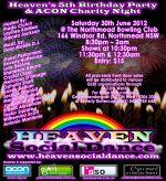 Heaven & Acon Charity Night Poster SSO/ADD 30.06.12.
