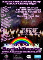 Heaven 6th Brithday/Charity – Poster – 20July2013
